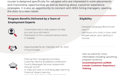 ACCES Employment has partnered with IKEA Canada on their Global Refugee Skills for Employment Initiative to offer a FREE online 5-day customer service program for newcomers with lived refugee experience – Working In Peel Halton