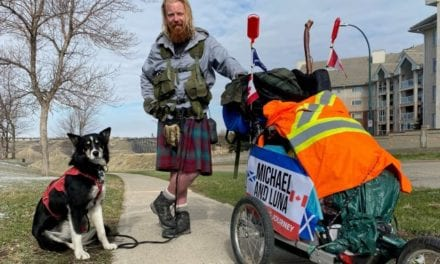 Scotsman and his dog stop in Alberta during cross-Canada walk for charity  | Globalnews.ca