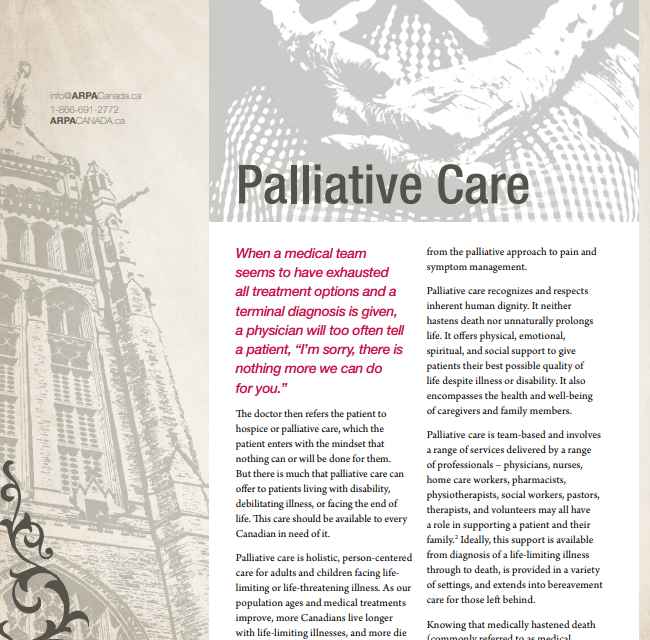 ARPA Canada     Respectfully Submitted Palliative Care Policy Report: Executive Summary